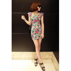 krátké letní společenské barevné šaty s motivem růží