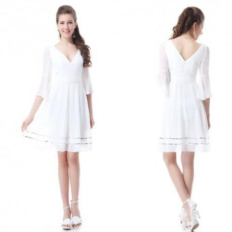 krátké bílé letní společenské šaty s 3 4 rukávy S - Hollywood Style ... 2a59bf10cf