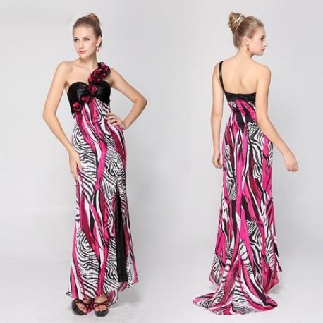 luxusní barevné dlouhé společenské šaty Eliza na jedno rameno M ... 1cd2b7aa248