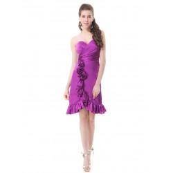 krátké fialové saténové společenské šaty S