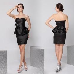 luxusní krátké černé saténové společenské šaty Suzie S a L