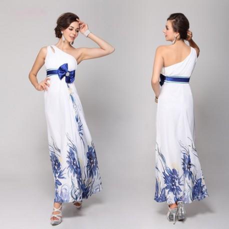 749bfc0d2d9 dlouhé bílé svatební společenské šaty Elena s modrými květy L ...