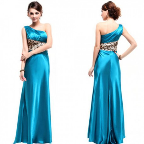 dlouhé modré společenské šaty na jedno rameno L - Hollywood Style E-Shop -  plesové a svatební šaty 566367c65d