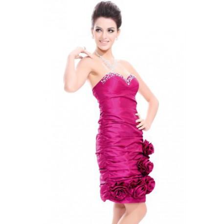 luxusní krátké růžové společenské šaty Pinky  M