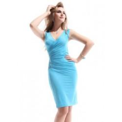 Blue světle modré krátké společenské šaty S-M
