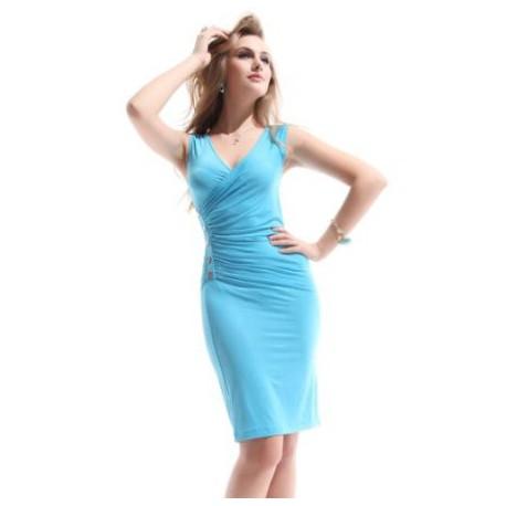 b36b89ce7 Blue světle modré krátké společenské šaty S-M - Hollywood Style E ...