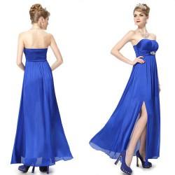 elegantní modré společenské šaty M-L