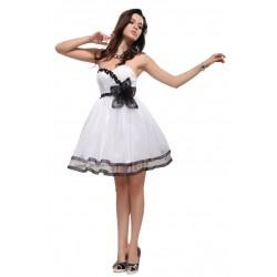 luxusní krátké bílo-černé společenské šaty S-M
