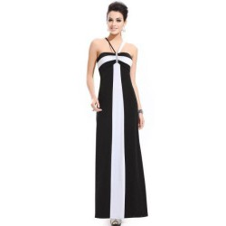 černo-bílé dlouhé společenské šaty Classic M-L