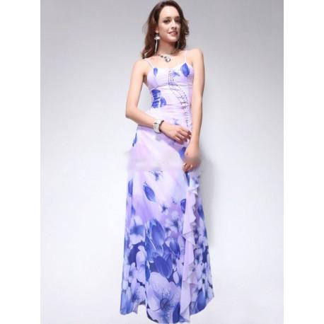 nádherné společenské bílo-modré večerní šaty S