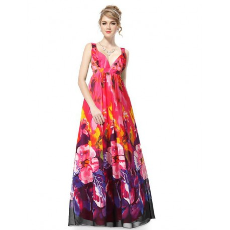 květované společenské dlouhé šaty S - Hollywood Style E-Shop ... c6f523e992