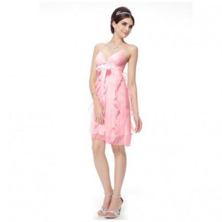 krátké růžové společenské šaty L-XL