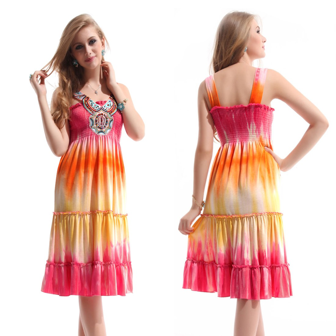 e1186c9c9920 krátké letní barevné duhové společenské šaty L-XL