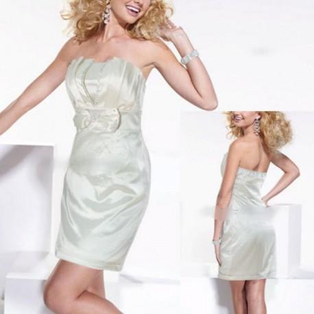 krátké krémové společenské šaty M