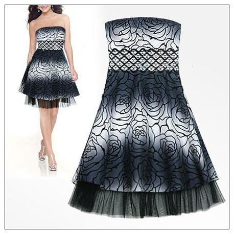 krátké černo-bílé společenské šaty M