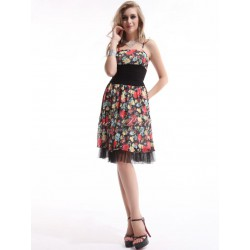 krátké květované letní společenské šaty S