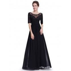 dlouhé černé společenské šaty s rukávem Donna S
