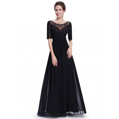2c864c64d08 dlouhé černé společenské šaty s rukávem Donna S - Hollywood Style E ...