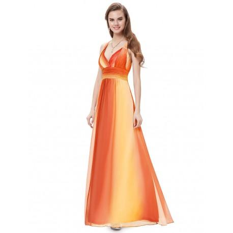 ombre oranžovo-žluté dlouhé společenské šaty Tina S