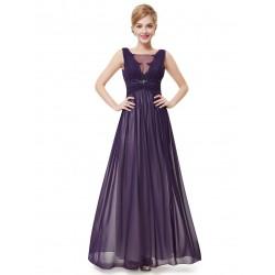 dlouhé fialové společenské šaty na ramínka Andy XL