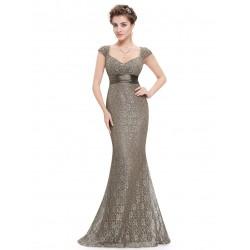 dlouhé světle hnědé společenské šaty Sindy XL