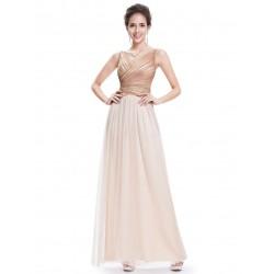champagne krémové plesové šaty se zlatými kamínky Luisa XS