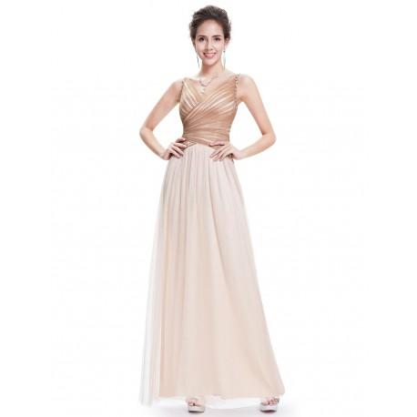Výprodej! champagne krémové plesové šaty se zlatými kamínky Luisa XS 25f1201593f