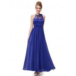 tmavě modré dlouhé společenské šaty kolem krku Zita XL