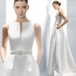 krémové saténové svatební šaty s kapsami XS-S