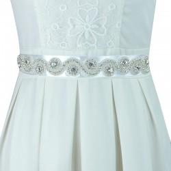 saténová stuha štrasová ozdoba svatebních šatů - bílá 5