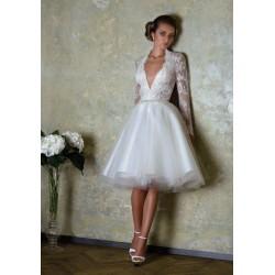 sexy krátké retro bílé svatební šaty s krajkou Tina XXS