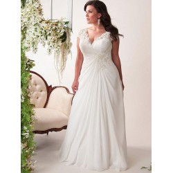 antické bílé svatební šaty s krajkovými ramínky Lola XL-XXL