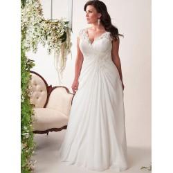 antické krémové svatební šaty s krajkovými ramínky Lola 4XL-5XL, 6XL-7XL