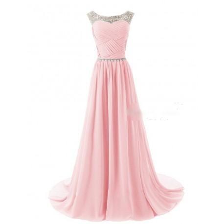 světle růžové plesové šaty na ramínka Agatha XS-S