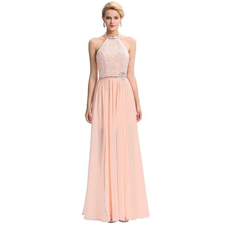b1b326b21e43 světle lososové plesové šaty kolem krku Dita S - Hollywood Style E ...