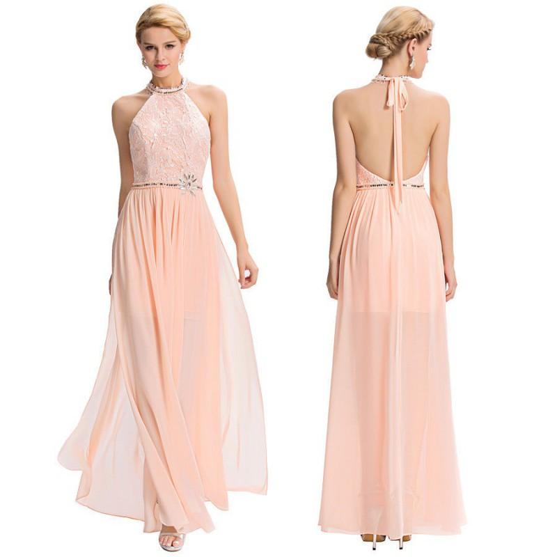 světle lososové plesové šaty kolem krku Dita S - Hollywood Style E ... 596d647f04