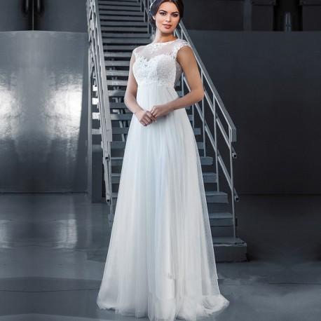 antické bílé svatební šaty s tylovým živůtkem Tina S-M