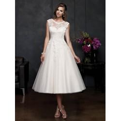 krátké retro bílé svatební šaty s krajkou Lara XXS-XS