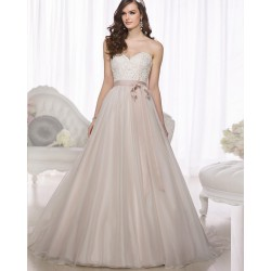krémové tylové svatební nebo plesové šaty s krajkovým dekoltem Linda XL