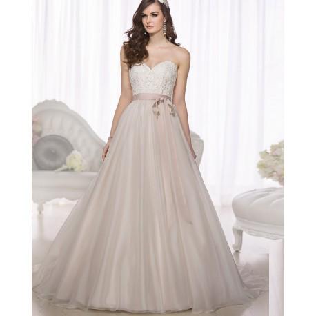 krémové tylové svatební nebo plesové šaty s krajkovým dekoltem Linda ... 0bab4b9720