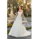 bílé svatební šaty s krajkovým živůtkem a sníženým pasem Lara XL-XXL